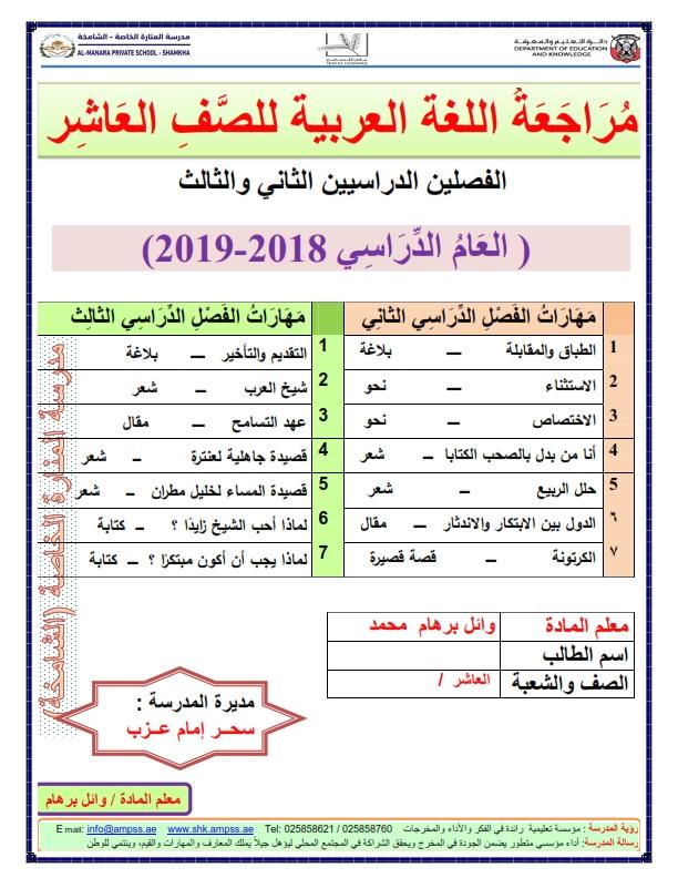 اوراق عمل مراجعة لغة عربية للصف العاشر الفصل الثاني و الثالث 2018-2019