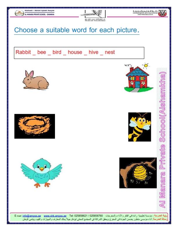 اوراق عمل مراجعة لغة انجليزية للصف الثالث الفصل الثالث