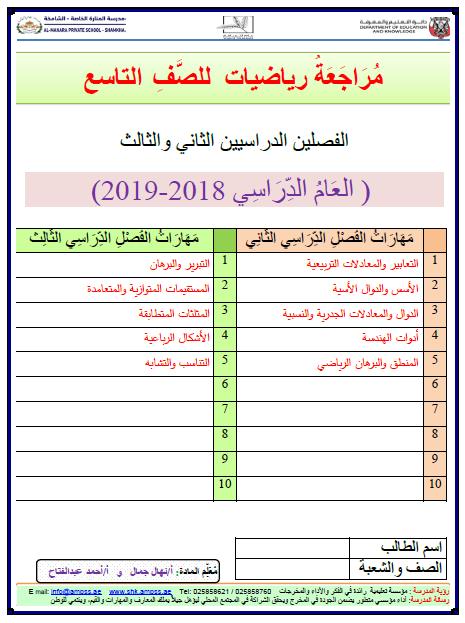 اوراق عمل مراجعة رياضيات للصف التاسع الفصل الثالث 2019