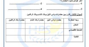 ورقة عمل حضارات الوطن العربي دراسات اجتماعية للصف الخامس الفصل الاول