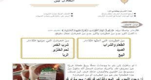درس الحلال بين تربية اسلامية للصف التاسع الفصل الاول مع الحل