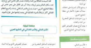 حل درس الامن المائي والامن الغذائي في الخليج العربي دراسات اجتماعية للصف الحادي عشر الفصل الثاني