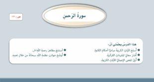 حل درس سورة الرحمن تربية اسلامية للصف السابع الفصل الثاني