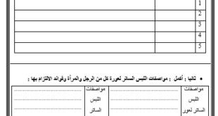 اختبار التقويم الاول تربية اسلامية للصف العاشر الفصل الثاني 2019-2020