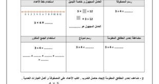 اوراق عمل مراجعة لمادة الرياضيات المتكاملة للصف الثالث الفصل الثاني 2019-2020