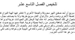 تلخيص الفصل التاسع عشر درس عواء من رواية ذئب اسمه طواف لغة عربية الصف الثامن الفصل الثالث