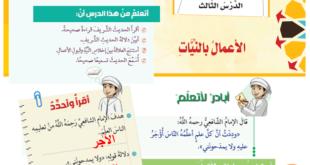 حل درس الاعمال بالنيات تربية اسلامية للصف الثامن الفصل الاول